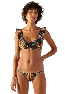 Ruffled crossed-tied bikini with adjustable bottom - MARGOT YAPI