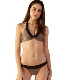 Taupe & black halter bikini - MATELASSE CARAMELO PRETO