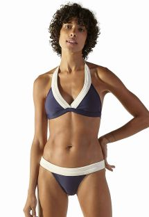 Bikini triangle foulard marine/écru - MATELASSE NAVY