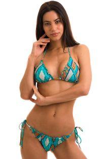 Geometric blue scrunch bikini - MEL BARLAVENTO