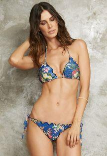 Bikini scrunch fleuri bleu bords ondulés - MEL DESCOBRIMENTO