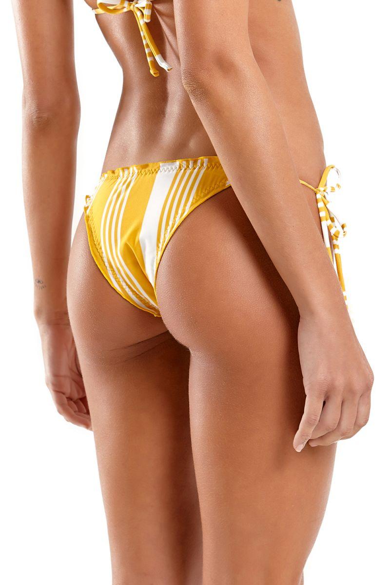 Yellow & white striped Brazilian bikini with wavy edges - MEL NASCA