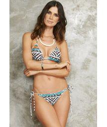 Colourful zebra-print Brazilian bikini wavy edge - MEL ZEBRA