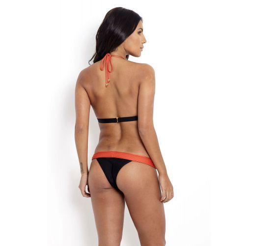 Black Brazilian bikini with orange quilted trim detail - METALASSE