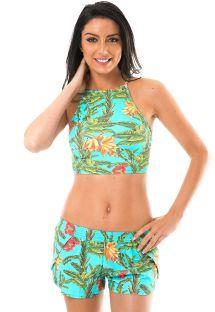 Tropical crop top and beach shorts ensemble - MUSA ALTO REMO
