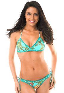 Bikini med bh-top, tropisk mønster og hæklede kanter - MUSA ESTRELA