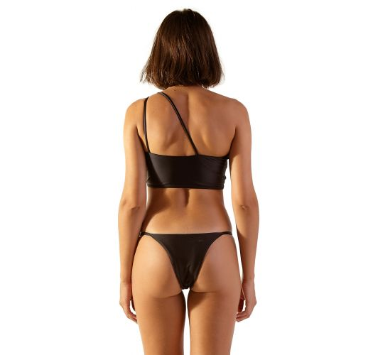 Asymmetric black crop top bikini with golden details - NIX PRETO