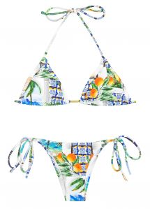 Printed Brazilian bikini with ties - PARATY TAHITY