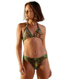 Traingle halter bikini with green ethnic print - PRADO JAVA