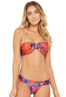 Rød og blå bandeau bikini med fastsiddende bikinitrusser - PRESTÍGIO NOTURNELLA