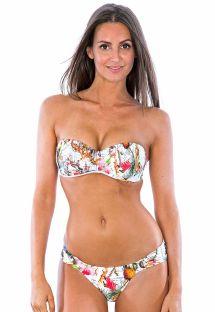 Hvid bandeau bikini med motiver og lavtsiddende bikinitrusser - PRINCESA RIQUEZA