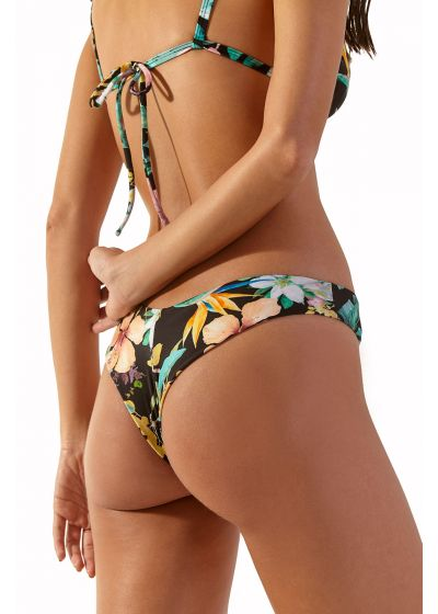 Black halter triangle bikini in tropical flowers - SAUIPE HAWAI