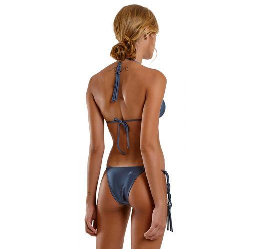 Gray blue side-tie Brazilian bikini - SEXY LISO AZUL