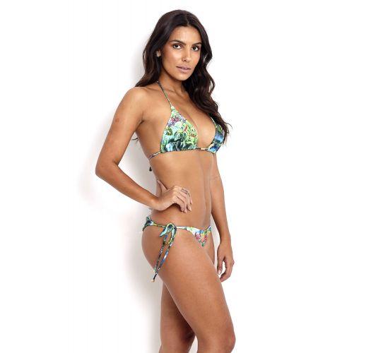 Brazylijskie bikini z tropikalnym wzorem i wiązaniami po bokach - SHIMBALAIE