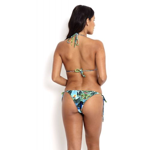 Bikini mit Seitenschnüren und Tropenprint - SHIMBALAIE