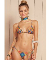 Pineapple triangle bikini with tassels - SOL DOURADO