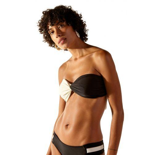 Two-tone black / white bandeau bikini - STRIKE LISO BICOLOR
