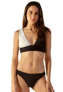 Two-tone black / white bra bikini with skimpy bottom - SUM LISO BICOLOR