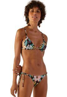 Tropical flowers side-tie scrunch Brazilian bikini - SUPER HAWAI