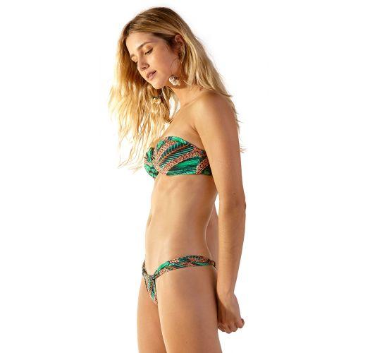 Tropical green bandeau bikini - SUPER TAI