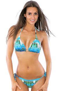 Tropical blue Brazilian bikini, triangle top - TAHITY MIRAGE