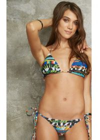 Sliding triangle bikini with printed stripes - TAHITY MOCAMBIQUE