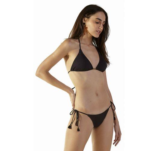 Black ribbed Brazilian bikini with pompoms - TAHITY TEX PRETO