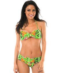 Green tropical print bandeau top bikini - TAPAJO BAHAMAS