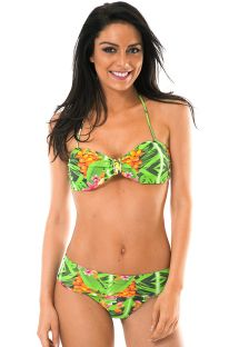 Купальник с лифом-бандо с зеленым тропическим рисунком - TAPAJO BAHAMAS