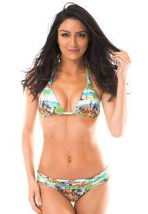 Peyzaj desenli eşarp üçgen bikini - TRANCOSO AREIA