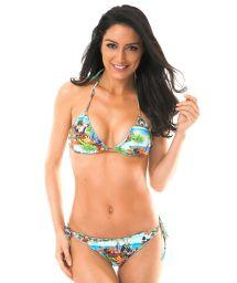 Landscape print triangle bikini with scallop trim detail - TRANCOSO MEL