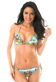 Landscape print triangle bikini with scallop trim detail - TRANCOSO MEL