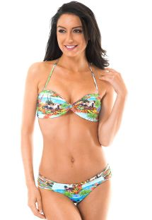 Printed strappy bandeau top two-piece swimsuit - TRANCOSO POP