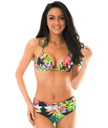 Black tropical high-waisted swimsuit - TROPICALI LOTUS