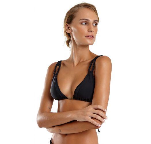 Black Brazilian bikini with rope details - UBATUBA LISO PRETO