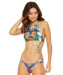 Colorful crop top bikini with a fancy tie-up - UNICA ESPLENDOR