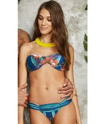 Twisted bandeau bikini with tropical striped print - UP POTI
