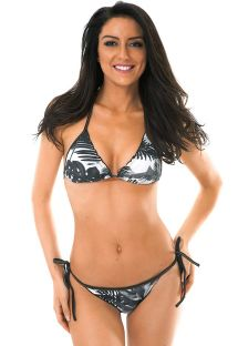Two-tone tropical Brazilian scrunch bikini - VISUAL EVA