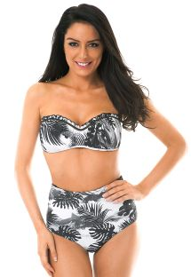 Bikini de talle alto con estampado tropical bicolor - VISUAL GIRLS