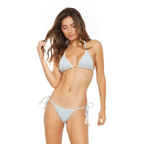 Side-tie grey bikini with tassels - WAVE JEANS COLLAGE