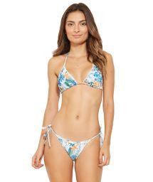 Floral Brazilian bikini with border pompoms - WAVE OSTRA