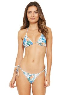 Floral Brazilian bikini with border pompoms - WAVE OSTRA