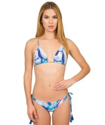 Triangle bikini with cross-over back and blue tassels - ETNICO POMPOM