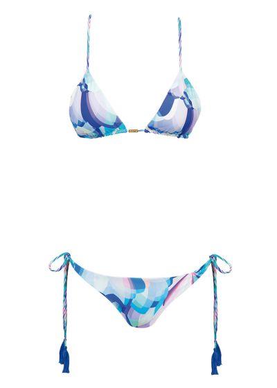 Triangel bikini med korsade band baktill och blå pompoms - ETNICO POMPOM