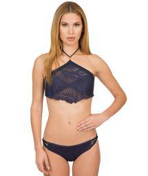 Textured navy blue crop top bikini - FOLHAGEM MARINHO