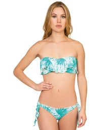 Blue/white bandeau swimsuit with frill - PALMA FRUFRU