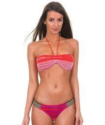 Orange and pink crochet-knit bandeau bikini - ADELIA