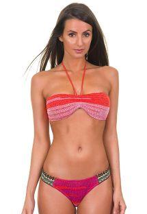Bikini a fascia nei colori arancio e rosa lavorato a maglia - ADELIA