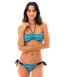 Bandeau blue & black crochet bikini t - DIONE AZUL