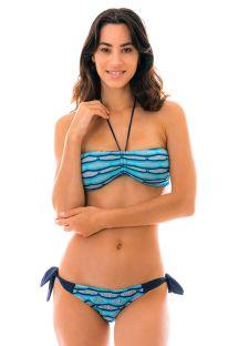 Bikini bianco e nero uncinetto  con top a fadcia  - DIONE AZUL